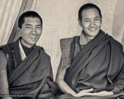 (15152_ng.psd) Lama Zopa Rinpoche and Lama Yeshe with an unidentified monk in a tent at the Lawudo Retreat Centre, 1972