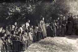 (15153_ng.psd) Lama Yeshe leading a Dharma celebration at Kopan along with the Mount Everest Center students, 1972.