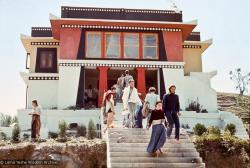 (15167_sl.psd) Front view of Kopan, 1972, with students on the steps. Kopan Monastery, built in Nepal, is the first major teaching center founded by Lama Yeshe and Lama Zopa Rinpoche.