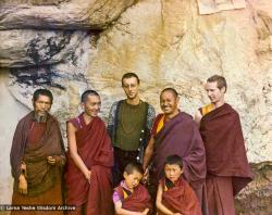(15174_pr.psd) At the Lawudo Lama's cave, Nepal, 1972. From the left to right: unknown monk, Lama Zopa, Massimo Corona, Lama Yeshe, Jhampa Zangpo, with two new Mount Everest Centre novice monks.