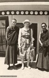 (15184_pr.psd) Anila Ann, Lady Amabel Williams-Ellis, age 80, and Lama Zopa Rinpoche at Kopan Monastery, 1973. (Annabelle was the Lamas' oldest student at this time.)