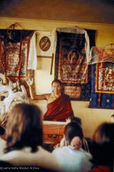 (15195_pr.psd) Lama Yeshe teaching, Fourth Meditation Course, Kopan Monastery, Nepal, 1973. Photo by Lynda Millspaugh.