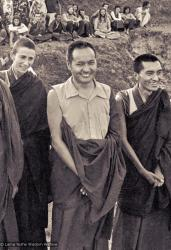 (15201_ng.psd) Anila Ann, Lama Yeshe and Lama Zopa Rinpoche in group photos from the Fourth Meditation Course, Kopan Monastery, Nepal,1973