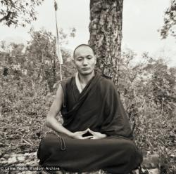 (15208_pr.psd) Lama Yeshe meditating in Mussoorie, India, 1973. Sister Max (Max Matthews) rented a house in Mussoorie in the Indian Himalayas for Lama Yeshe and Lama Zopa Rinpoche for a vacation. Photo by Max Matthews.