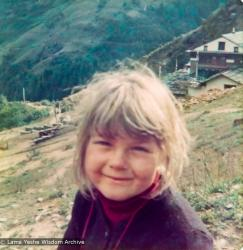 (15209_pr.psd) Zina Rachevsky's daughter Rhea. From photos taken in the spring of 1973 while Zina Rachevsky was on a long retreat at Thubten Choling, monastery of Trulshik Rinpoche in the lower Solu region of Solu Khumbu near Junbesi, Nepal. Zina died while on this retreat in August of 1973.