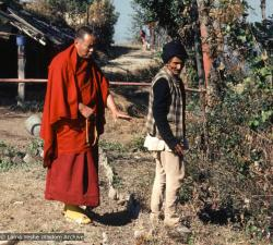 "(15221_sl-3.jpg) Lama Yeshe and Chowkidhar, ca1978. Chowkidhar was elderly Nepalese man and devout Hindu who lived with his wife in a mud hut at the foot of Kopan Hill, Kopan Monastery. They owned one cow. Everyone called him Chowkidhar, the Nepali word for ""caretaker."" Chowkidhar became Lama Yeshe's life-long friend."