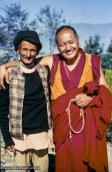 """(15222_ng-3.psd) Lama Yeshe and Chowkidhar, possibly 1978. Chowkidhar was elderly Nepalese man and devout Hindu who lived with his wife in a mud hut at the foot of Kopan Hill, Kopan Monastery. They owned one cow. Everyone called him Chowkidhar, the Nepali word for """"caretaker."""" Chowkidhar became Lama Yeshe's life-long friend."""