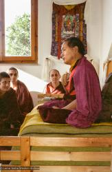 (15235_ng.psd) Lama Yeshe addressing western monks and nuns at Istituto Lama Tsongkhapa, Italy, 1983. Nick Ribush is directly in the center, back wall, Wongmo Thubten (Feather Meston) is in the foreground, left. Photos donated by Merry Colony.