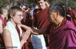 (15238_ng.tif) Lama with Celia Smith. Lama Yeshe addressing western monks and nuns at Istituto Lama Tsongkhapa, Italy, 1983. Photos donated by Merry Colony.