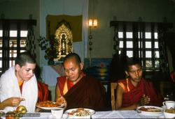(15470_ng.psd) Lama Yeshe and Thubten Pemo (Linda Grossman) (with Lama Zopa Rinpoche on the right) after her ordination, Bodhgaya, India, 1974.