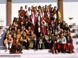 (15479_sl.psd) Ordination photo of western Dharma students including Gareth Sparham, Marcel Bertels, Ama-la (Mother of Lama Zopa), Nick Ribush, Nicole Couture, Thubten Pemo (Linda Grossman), Thubten Pende (Jim Dougherty), Ursula Bernis, Thubten Wongmo  (Feather Meston), and Yeshe Khadro (Marie Obst). Bodhgaya, India, 1974.