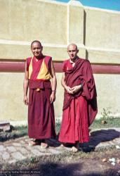 (15482_sl.psd) Lama Yeshe and Nick Ribush after his ordination in Bodhgaya, India, 1974.