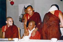 (15483_pr.psd) Lama Yeshe and Ama-la (Mother of Lama Zopa Rinpoche) after her ordination, Bodhgaya, India, 1974. Chris Kolb (Ngawang Chotak) is at the left.