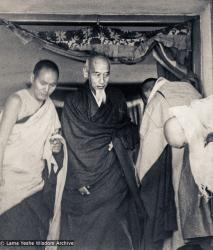 (15485_pr.psd) In April of 1974, H. H. Zong Rinpoche, a senior lama and teacher for Lama Yeshe, visited Kopan Monastery, Nepal, in time to give teachings during the last week of the Sixth Meditation Course. Photo includes Lama Yeshe on the left.