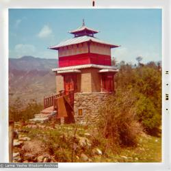 "(15486_pr.psd) Photo of Steve's Tower. An American student, Steve Malasky (Now Steve Pearl), built a Tibetan tower at one end of the Kopan land which came to be known as ""Steve's Tower"". Kopan Monastery, Nepal, 1974"