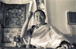 (15487_ng.psd) Lama Yeshe teaching in the gompa (shrineroom) at Kopan Monastery, Nepal, 1974. Photo by Ursula Bernis.