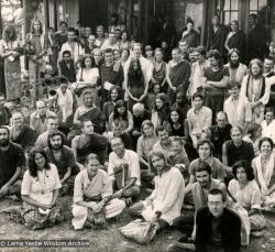 (15567_pr-2.psd) Photo from a course at Tushita Retreat Centre, Dharamsala, India, in June of 1975, taught by Geshe Rabten and translated by Gonsar Tulku. Geshe Rabten is seated and Gonsar Tulku is standing to the right of him. Many of Lama's students are in the group including Ursula Bernis, Steve Malasky (Steve Pearl), Massimo Corona, and Piero Cerri. Photo by Dan Laine.