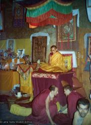 (15592_pr.tif) Lama Zopa Rinpoche teaching. Photo from the 8th Meditation Course at Kopan Monastery, Nepal, 1975. In the foreground is Nick Ribush, Marcel Bertels, and Stefano Piovella.