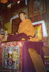 (15594_pr.tif) Lama Yeshe teaching and doing puja. Photo from the 8th Meditation Course at Kopan Monastery, Nepal, 1975.