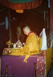 (15595_pr.tif) Lama Zopa Rinpoche doing a mandala offering. Photo from the 8th Meditation Course at Kopan Monastery, Nepal, 1975.