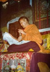(15596_pr.tif) Lama Yeshe teaching and doing puja. Photo from the 8th Meditation Course at Kopan Monastery, Nepal, 1975.