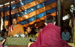 (15597_pr-2.psd) Lama Yeshe doing puja. Next to Lama Yeshe is Gelek Gyatso. Photo from the 8th Meditation Course at Kopan Monastery, Nepal, 1975.