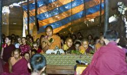 (15601_pr-2.psd) Lama Yeshe doing puja. Next to Lama Yeshe is Gelek Gyatso, Charok Lama (Tenzin Dorje), and Thubten Zopa (Tenzin Norbu). On the left is Thubten Pemo (Linda Grossman), Aleca Moriatis, and Nicole Couture. Photo from the 8th Meditation Course at Kopan Monastery, Nepal, 1975.