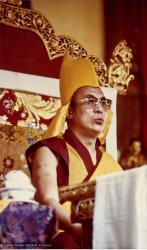 (15609_pr-2.psd) H.H. Dalai Lama giving the Kalachakra empowerment in Bodhgaya, India, 1974. Lama Yeshe and Lama Zopa Rinpoche attended this event with many of their students. Photo donated by Dan Laine, photographer unknown.