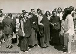 (15839_pr.psd) The lamas arriving at Maroochydore airport, Queensland, Australia, 1974. Left to right: Yeshe Khadro, Anila Ann, Lama Yeshe, Ellie Pratt, Lama Zopa, Lindsay Pratt, Pete Northend (with long hair), Kathy and Tom Vichta.