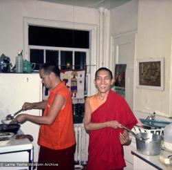 (15845_ng.psd) Lama Yeshe in the kitchen with Lama Zopa Rinpoche, New York City, 1974. In July 1974, the lamas and Mummy Max arrived in New York City to begin the first international teaching tour. They stayed at the apartment of Lynda Millspaugh on the Upper West side of Manhattan.
