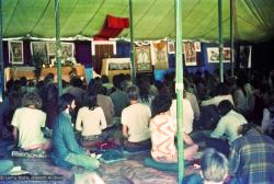 (15848_ng.psd) Inside the gompa (meditation tent), Diamond Valley. The lamas taught their first retreat in Australia at Diamond Valley in southeast Queensland, August, 1974.