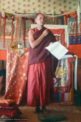 (15855_ng.tif) Nick Ribush, Lama Zopa Rinpoche's assistant for the Seventh Kopan Course, giving an introductory lecture to the new students, Kopan, November 1974.
