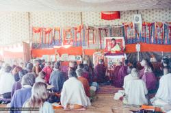 (15856_ng.tif) Lama Zopa Rinpoche teaching in the tent, Kopan Monastery, Nepal, 1974. For the Seventh Meditation Course a huge Indian wedding tent replaced the dusty burlap-walled tent.