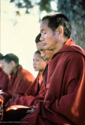 (15865_sl.tif) Lama Yeshe and Lama Zopa Rinpoche meditating with Mount Everest Center students, Kopan Monastery, Nepal, 1974.