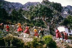 (15868_sl.tif) Mount Everest Center monks climbing up to Lawudo Retreat Center, Nepal, 1974.