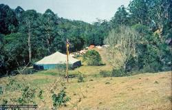 (15869_sl.psd) The gompa (meditation tent) at Diamond Valley. The lamas taught their first retreat in Australia at Diamond Valley in southeast Queensland, August, 1974.