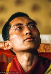 (15891_sl.tif) Lama Zopa Rinpoche teaching in the tent, Kopan Monastery, Nepal, 1974. For the Seventh Meditation Course a huge Indian wedding tent replaced the dusty burlap-walled tent.