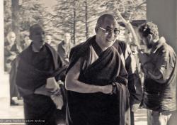 (15895_ng.psd) H.H. Dalai Lama at the Tibetan Library, Dharamsala, India,1975. Photo by Dan Laine.