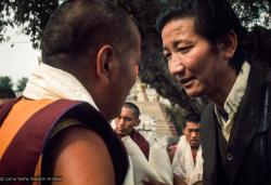 (15899_sl.tif) Lama Yeshe with Jampa Trinley, 1975. Kelsang Puntsog Rinpoche, the son of Lama Yeshe's old friend Jampa Trinley, was later recognized to be the reincarnation of Geshe Ngawang Gendun, one of Lama's teachers. In January 1975 he was enthroned at Kopan Monastery, Nepal, after which he became known to all as Yangsi Rinpoche.