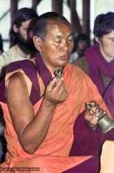 (15917_ng.psd) Lama Yeshe doing puja, 1975. From the collection of images of Lama Yeshe, Lama Zopa Rinpoche and the Sangha during a month-long course at Chenrezig Institute, Australia.