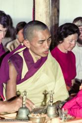 (15918_ng.tif) Lama Zopa Rinpoche doing puja, 1975. From the collection of images of Lama Yeshe, Lama Zopa Rinpoche and the Sangha during a month-long course at Chenrezig Institute, Australia. Beatrice Ribush is on the right.