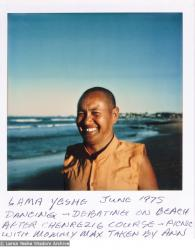 (15926_pr.psd) Lama Yeshe dancing/debating on the beach after the month-long course at Chenrezig Institute, Australia, 1975. Photo by Anila Ann.