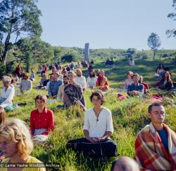 (15966_ng.tif) On Saka Dawa (the celebration of Buddha's birth, enlightenment, and death), Lama Yeshe asked everyone to come outside after a Guru Puja for a meditation on the hill behind the gompa. Chenrezig Institute, Australia, May 25, 1975. Photo by Wendy Finster.