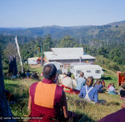 (15967_ng.tif) On Saka Dawa (the celebration of Buddha's birth, enlightenment, and death), Lama Yeshe asked everyone to come outside after a Guru Puja for a meditation on the hill behind the gompa. Chenrezig Institute, Australia, May 25, 1975. Photo by Wendy Finster.