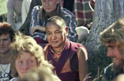 (15968_ng.psd) Lama Yeshe with the students, 1975. On Saka Dawa (the celebration of Buddha's birth, enlightenment, and death), Lama Yeshe asked everyone to come outside after a Guru Puja for a meditation on the hill behind the gompa. Chenrezig Institute, Australia, May 25, 1975. Photo by Wendy Finster.