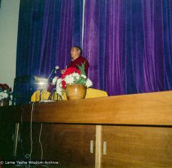 (15975_ng.tif) Lama Yeshe giving a public talk, Adyar Theater, Sydney, Australia, 8th of April, 1975.
