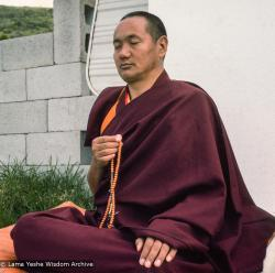 Lama Yeshe meditating during the month-long course at Chenrezig Institute, Australia, 1975.