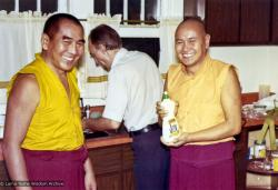 (16004_pr.psd) Geshe Sopa and Lama Yeshe, 1975. Between them doing dishes is Elvin Jones. The lamas spent a month in Madison, Wisconsin with Geshe Sopa, receiving teachings from him on the The Great Treatise on the Stages of the Path to Enlightenment (Lam-Rim Chenmo). Photo by George Propps.
