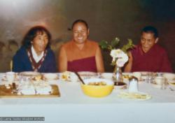 (16006_pr.psd) Geshe Gyeltsen (on the left) and the lamas at lunch, England, 23rd of Sept., 1975. The lamas invited an old friend from Buxa to lunch at the mill cottage. Geshe Tsultim Gyeltsen was now married and worked as a male nurse in a psychiatric hospital. Few realized that this quiet man with long hair was a Lharampa geshe.