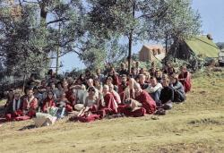 (16705_ng.psd) Group photo at Chenrezig Institute, Australia, 1976. Included in the photo are Charlie Topp, Tony Duff, Jhampa Zangpo (Mark Shaneman), Garrey Foulkes, and Adele Hulse.